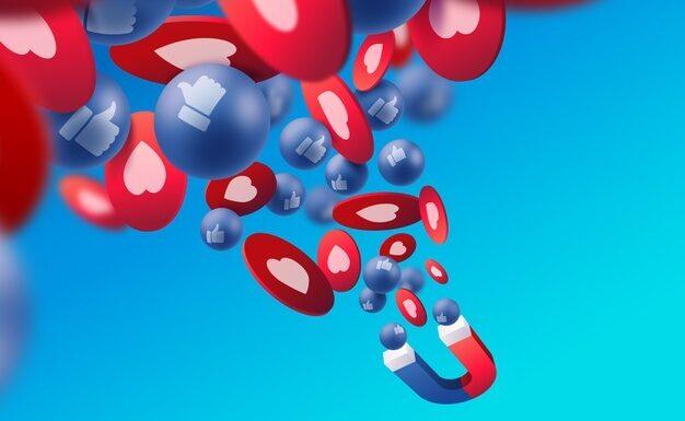 Magnet attracting social likes on social media.